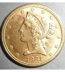 США. 5 долларов 1881