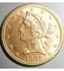 USA. 5 dollars 1881