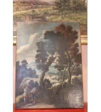 """Painting """"Flemish landscape"""". XVIII century"""