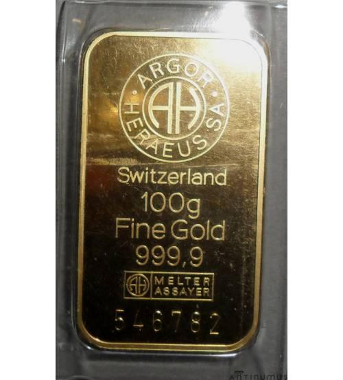 Швейцария. Золотой слиток 100 г. ЛОТ 1