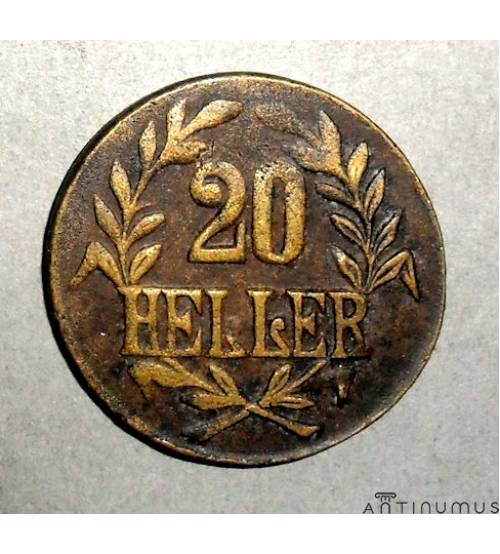 German East Africa. 20 heller 1916